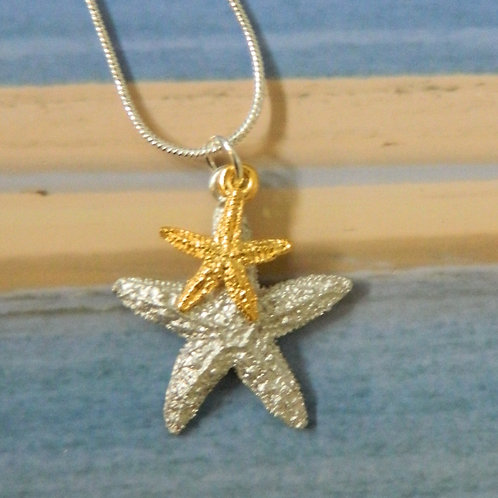 PEWTER STARFISH AND GOLD STARFISH NECKLACE