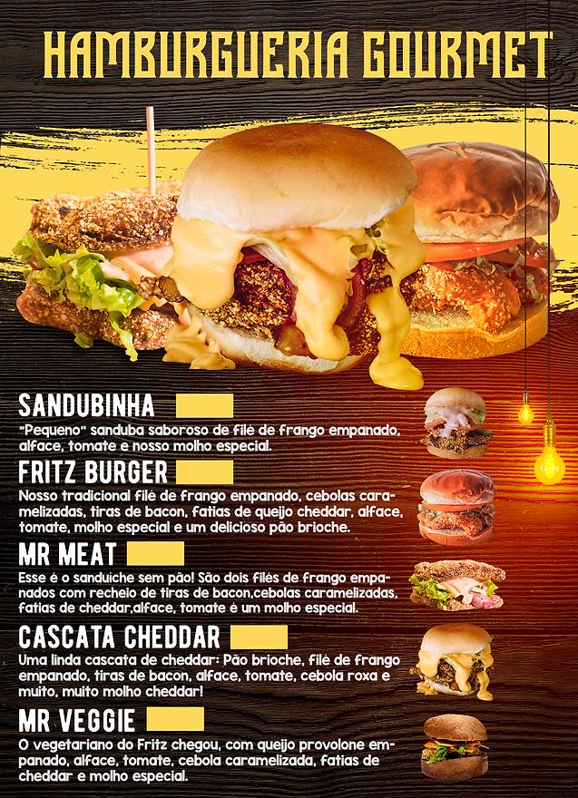 cardápio hamburgueria gourmet mr fritz f
