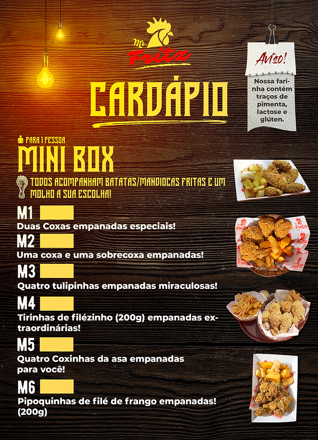 cardápio mini box mr fritz frango frito