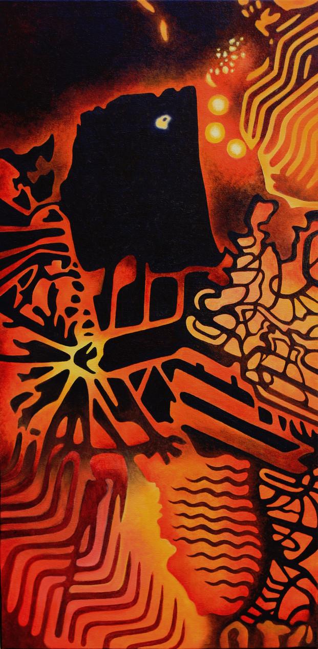 "REMNANTS No.2, Oil paint on canvas, 12"" x 24"", 2011"