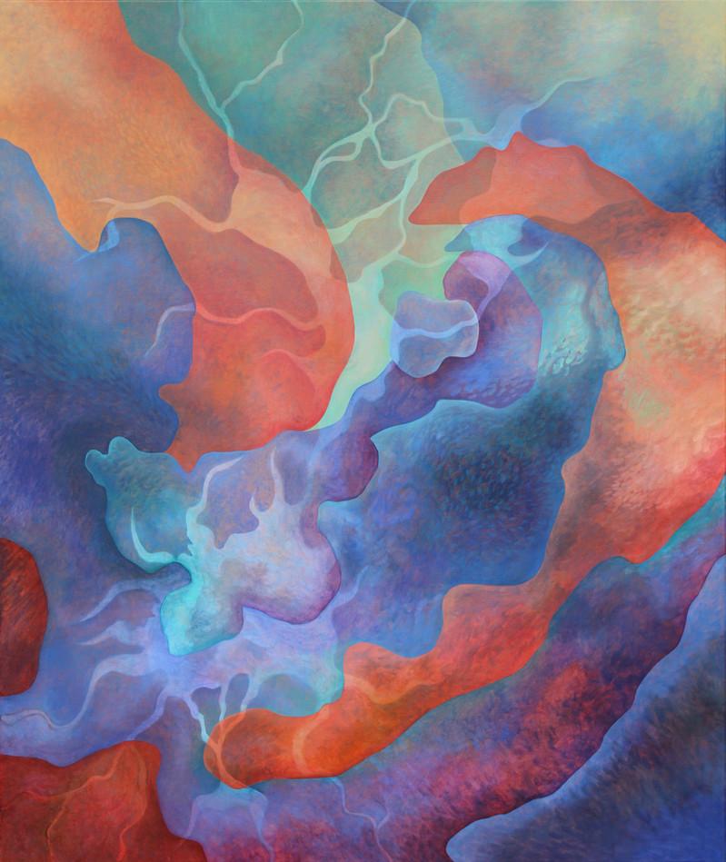 ORIGIN, 100 x 120 cm, acrylic and oil paint on canvas, 2019