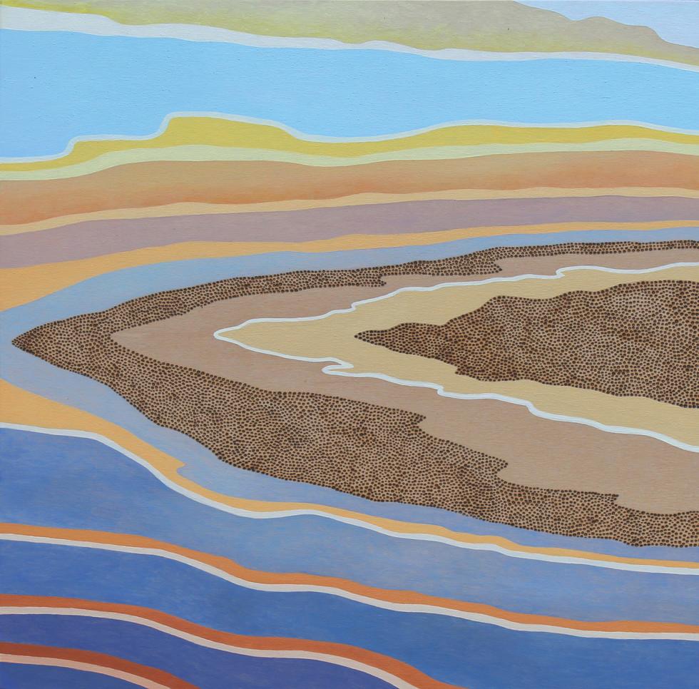 SERENE, Oil paint on wood-burned panel, 30 x 30 cm, 2017