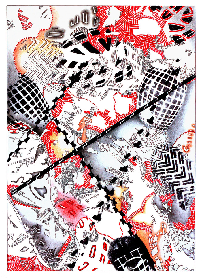 """IMPRESSIONS No.4, Ink and pencil on paper, 15"""" x 22.5"""", 2011"""