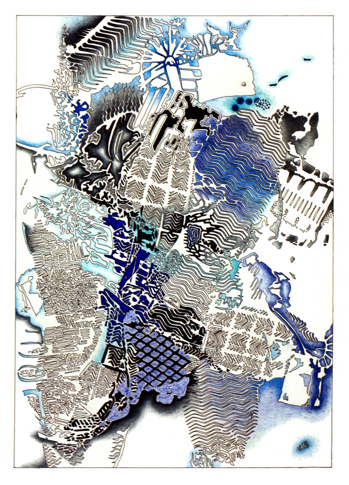 """IMPRESSIONS No.2, Ink and pencil on paper, 15"""" x 22.5"""", 2011"""