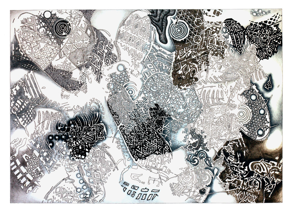 """IMPRESSIONS No.5, Ink and pencil on paper, 22"""" x 28"""", 2011"""