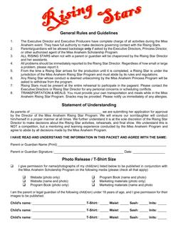 2020 Rising Star Program - General Rules