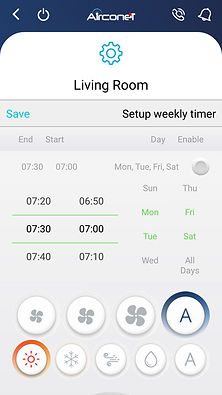 App weekly timer, Air Condition control smartphone, App for air condition, Alexa air condition