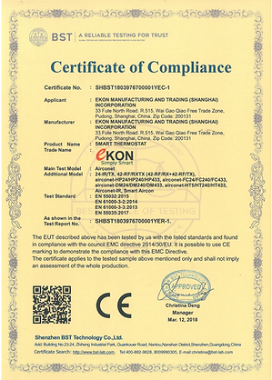 Airconet CE certificate