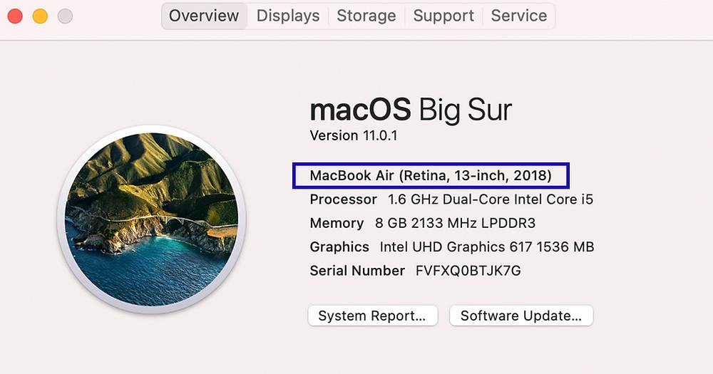 ตรวจสอบรุ่น ของ Mac