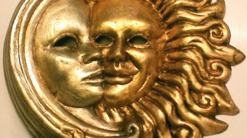 Sole Luna in foglia oro e argento