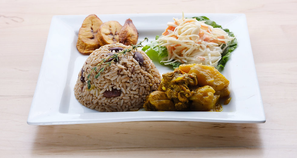 Close up of dish with Rice, Coleslaw, Plantain and stewed chicken.