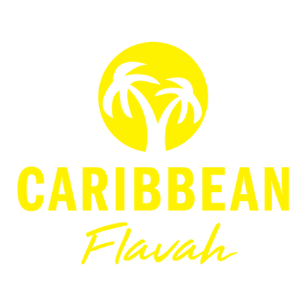 Caribbean Flavah Logo, Name of company and Image of two palm trees nested in a circle
