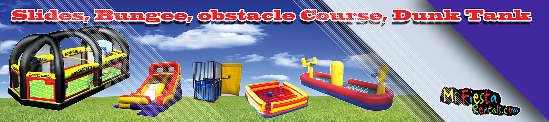 Obstacle Course Rentals, Dunk Tank, Slides, Bungee