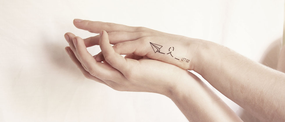 Let Go Paper Airplane Temporary Tattoo