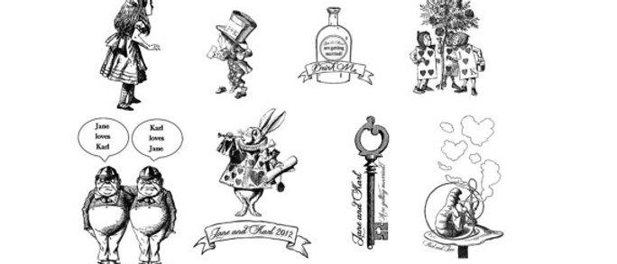 Alice in wonderland customisable temporary tattoos