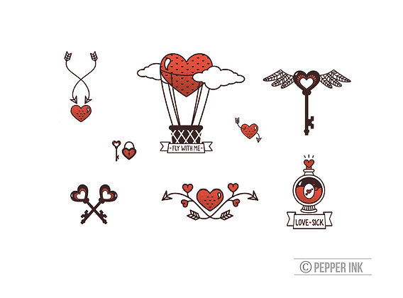 The Love Collection - Pack of 8 temporary tattoos