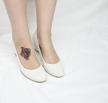 Floral Owl - Temporary Tattoo