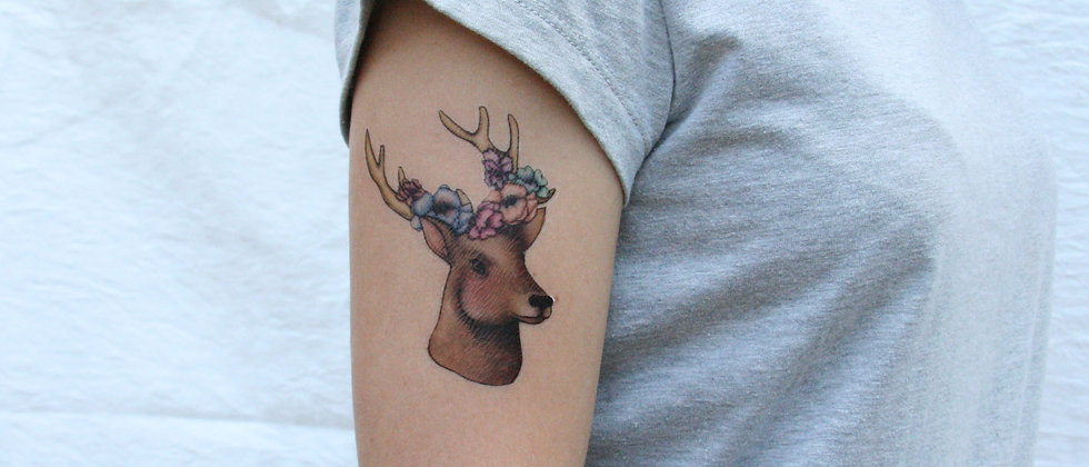 Deer with Floral Antlers Temporary Tattoo