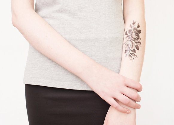 Vintage Dutch Roses Temporary Tattoo