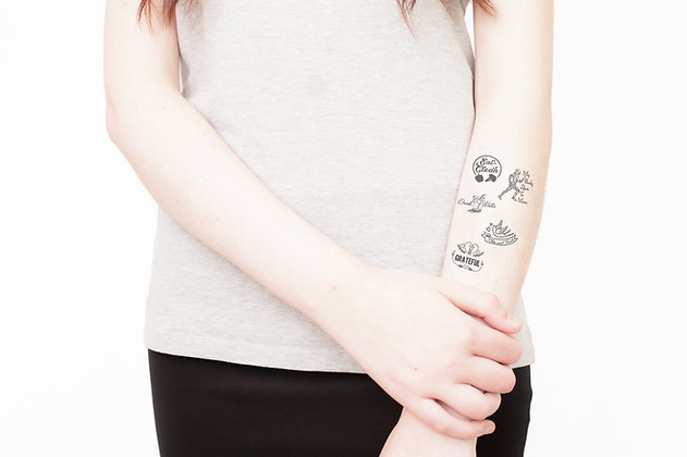 healthy habits reminders- 5 temporary tattoos