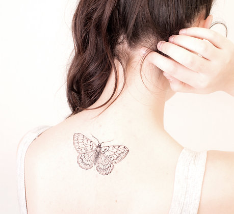 vintage illustration moth temporary tattoo- choose