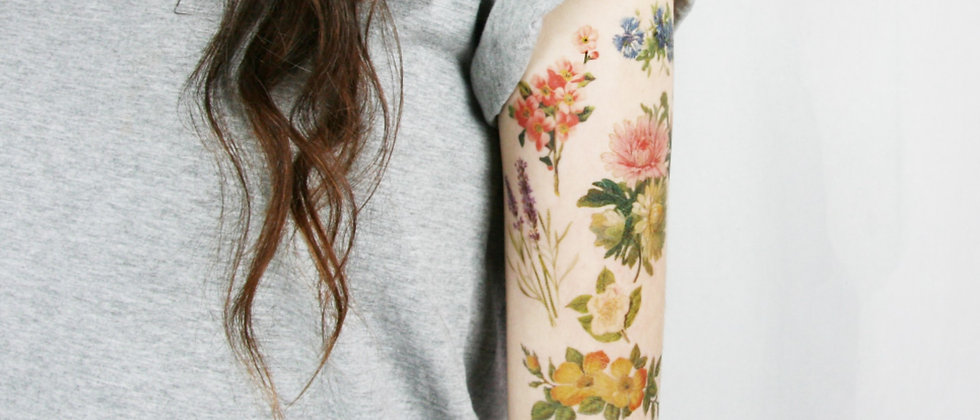 Vintage Wildflower Collection- 6 Temporary Tattoos
