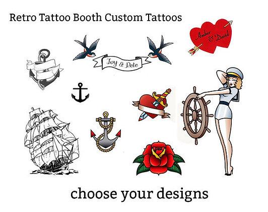 retro customisable temporary tattoos - party favor
