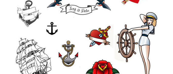 Retro customisable temporary tattoos for parties, events, hens nights