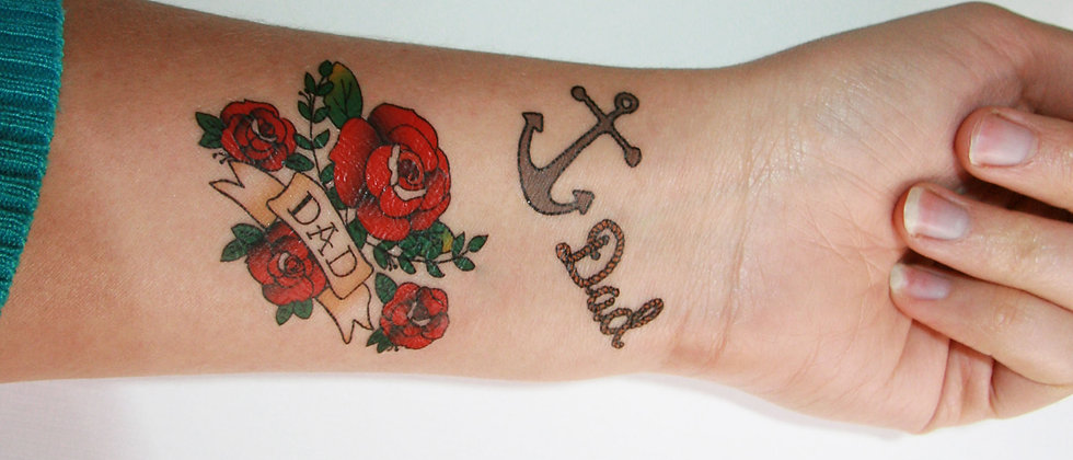 Anchor dad and Roses Dad temporary tattoos - set of 2