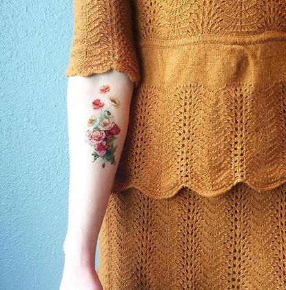 Vintage Poppy Temporary Tattoo