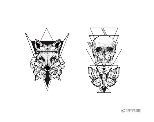 Geometric Fox & Skull Temporary Tattoos pack