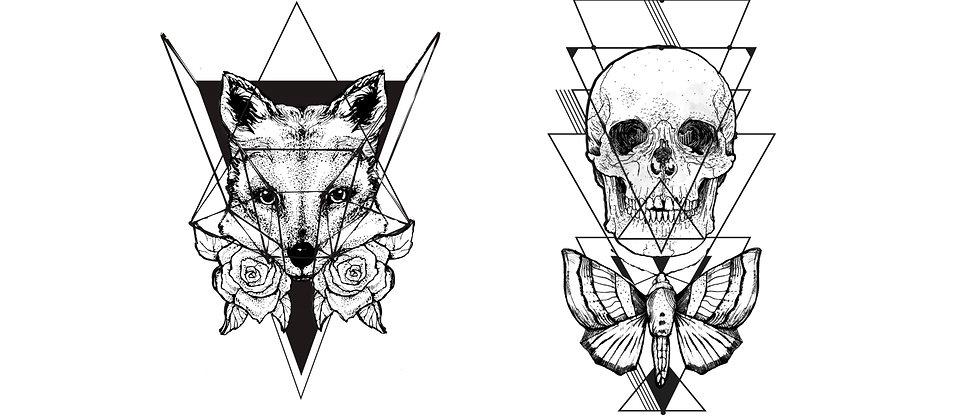Geometric Fox & Skull Temporary Tattoos pack