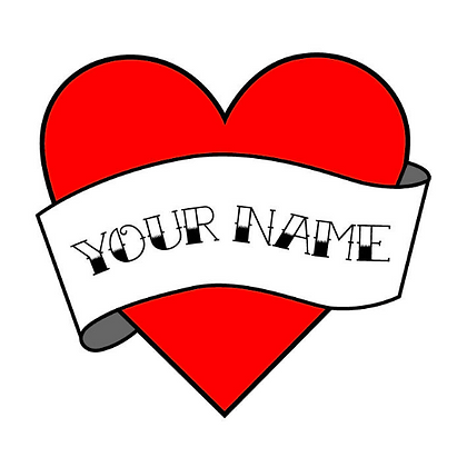 12 Custom Heart Name Temporary Tattoos Party Pack