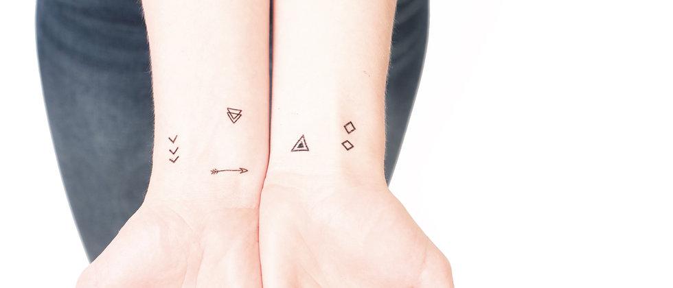 Geometric tribal tiny temporary tattoos