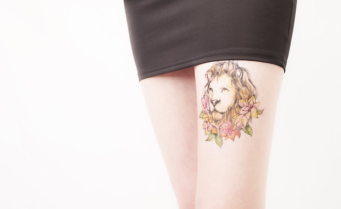 Lion and flowers portrait temporary tattoo
