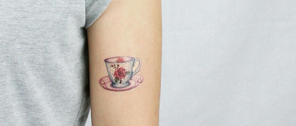 Sweet Rose Teacup Temporary Tattoo