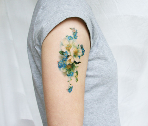 97d6c8f6e vintage blue and white floral temporary tattoo