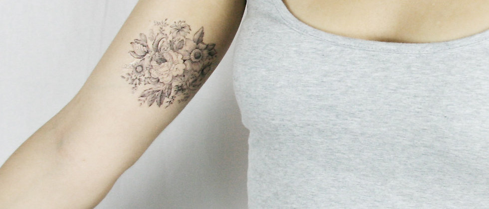 Vintage Floral Black and White Victorian temporary tattoo
