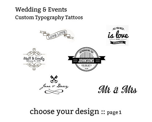 custom event typography temporary tattoos