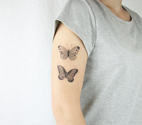 vintage butterflies - temporary tatt - choose size