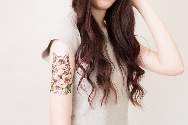 cat and flowers portrait temporary tattoo