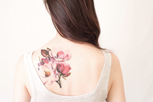 Magnolia Temporary Tattoo