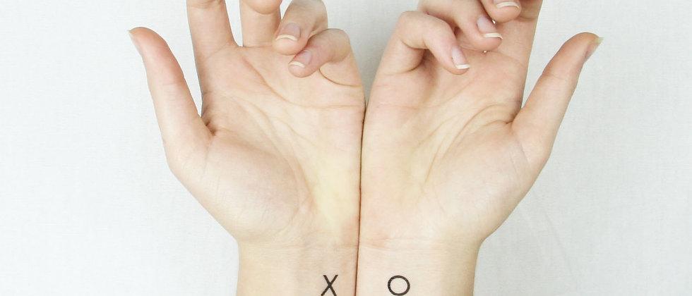 XO Kiss Hug Temporary Tattoo