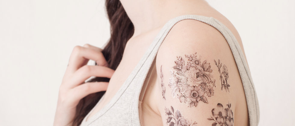 Black and white floral temporary tattoo collection- 6 designs
