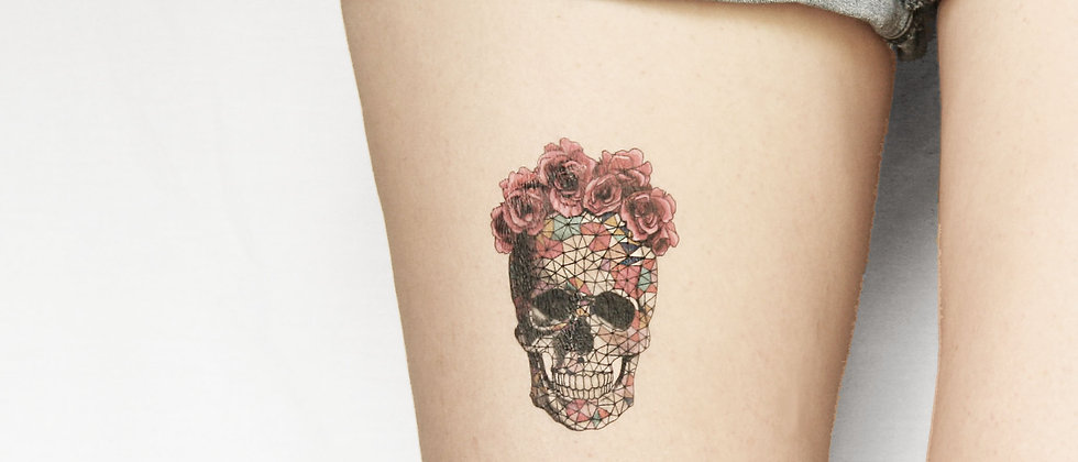 geometrics sugar skull with  floral crown- choose