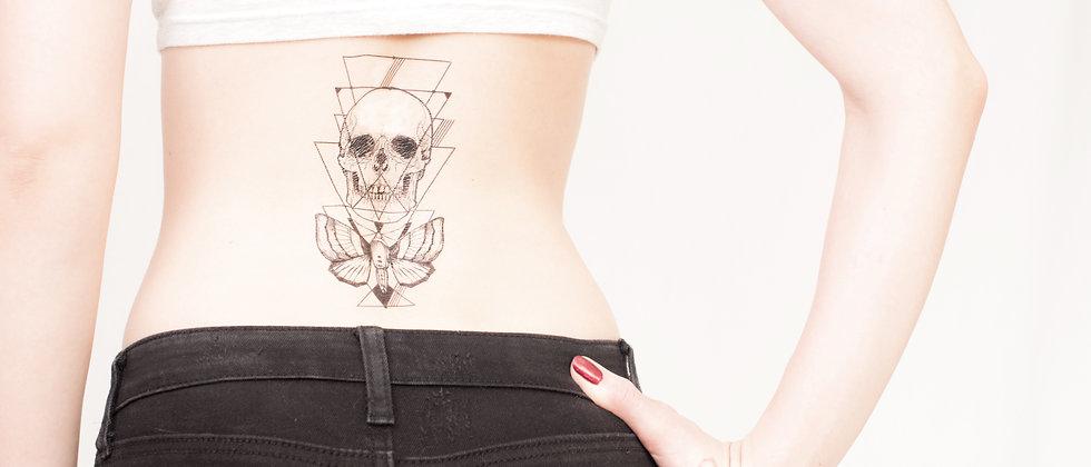 Geometric skull and moth temporary tattoo - choose