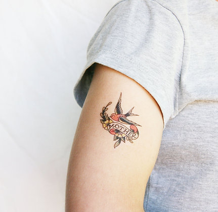 'Mother' swallow old school style temporary tattoo