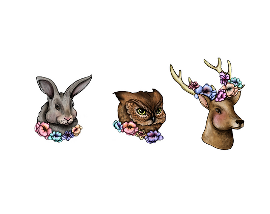 floral woodland creatures - temporary tattoo