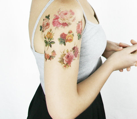 Vintage Roses Tattoo Sleeve