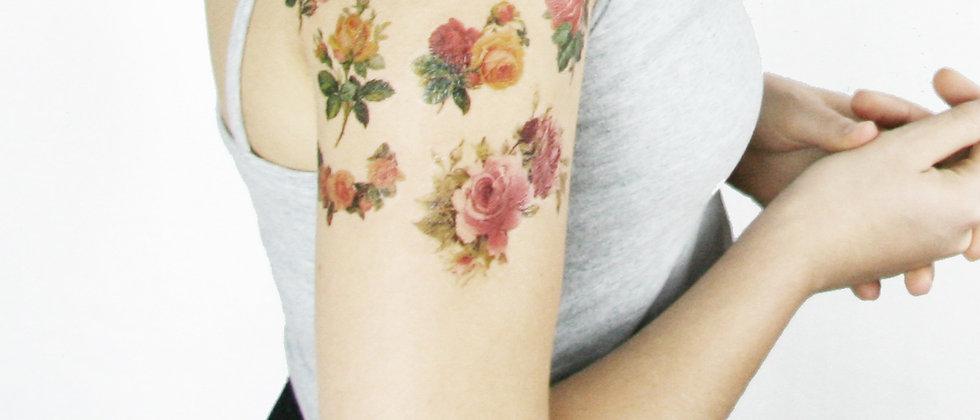 Vintage Roses Tattoo Sleeve